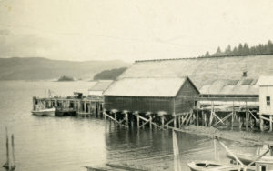 Alliford Bay cannery and beach