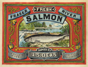 "Can label for ""Fresh Fraser River salmon packed by J.S. Deas. Fraser River, British Columbia."" Label includes an illustration of a salmon in front of an idyllic stream scene."