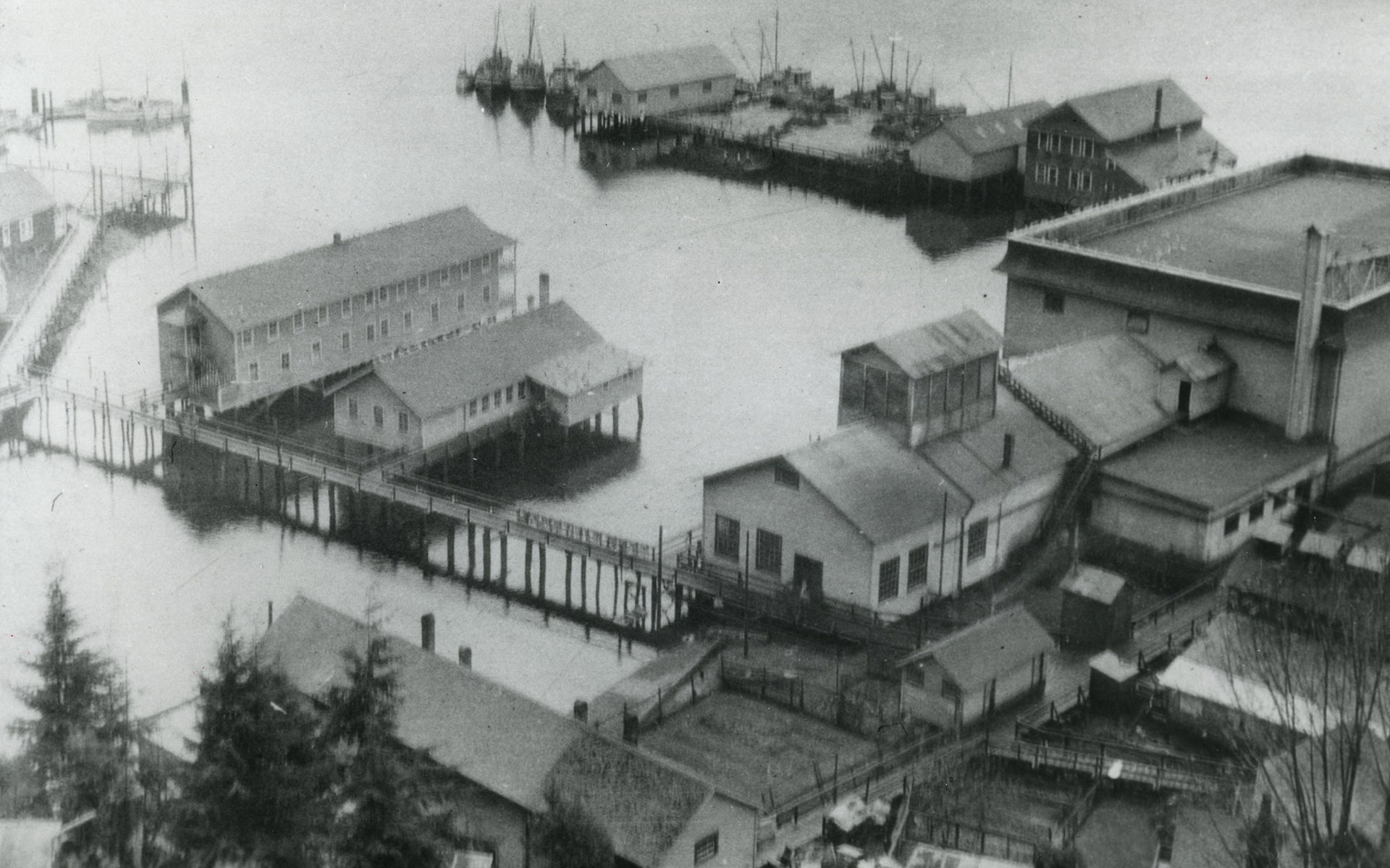 Kildonan Cannery buildings viewed from above showing the buildings and wharves extending over the water