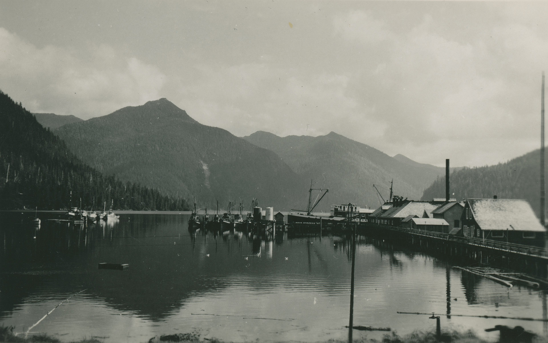 Lagoon Bay Cannery dock with mountains in the background.