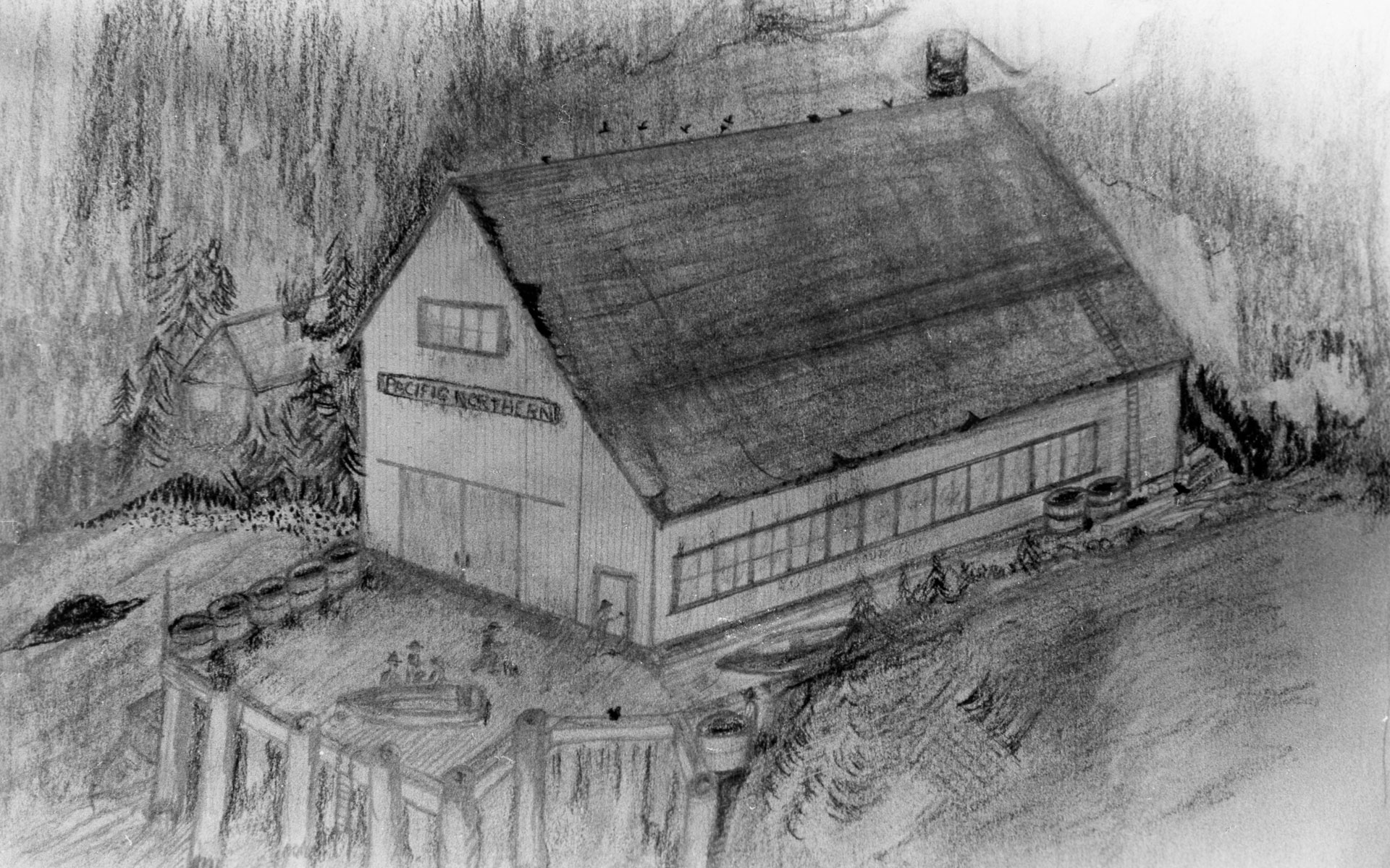 Black and white drawing of the main cannery building and dock.