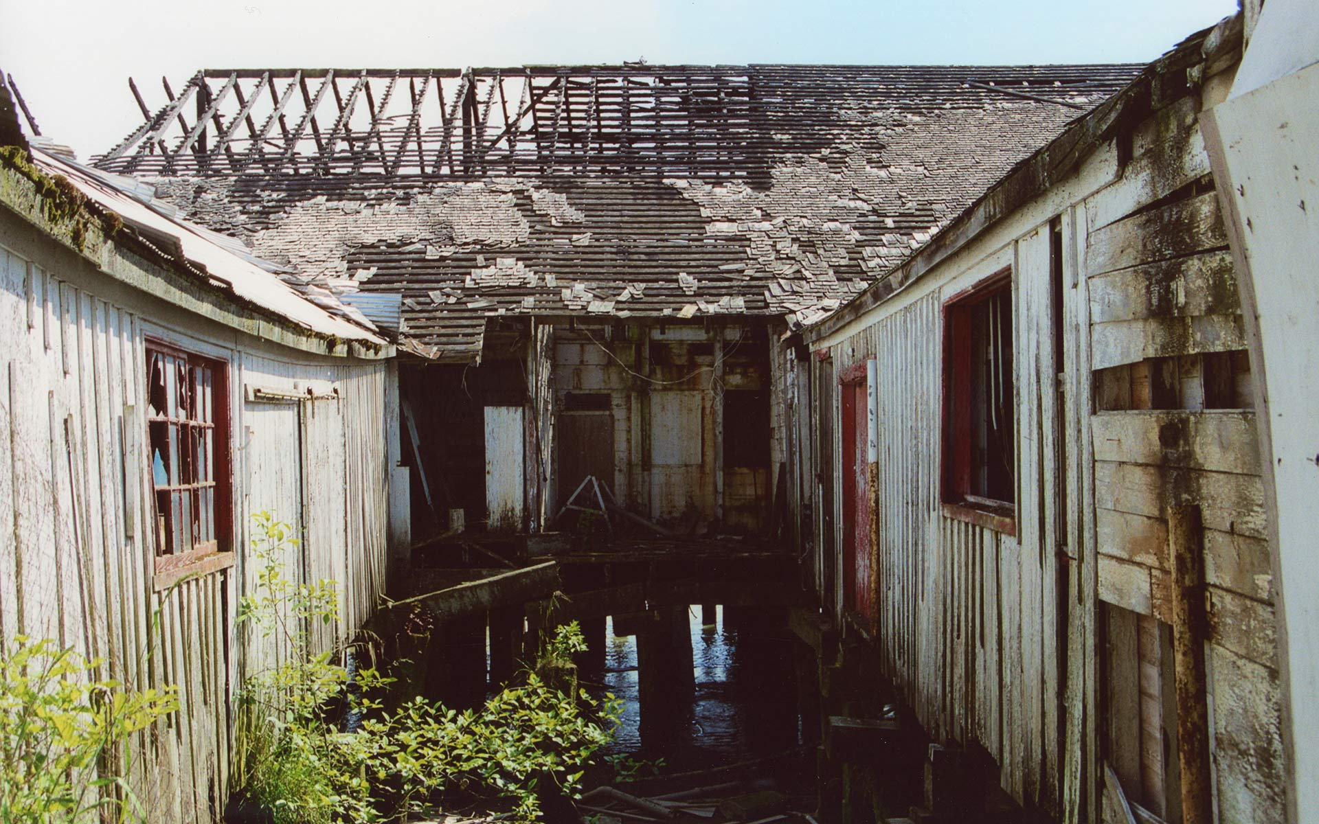 Cannery buildings in disrepair with planks of wood in the water, and broken windows.