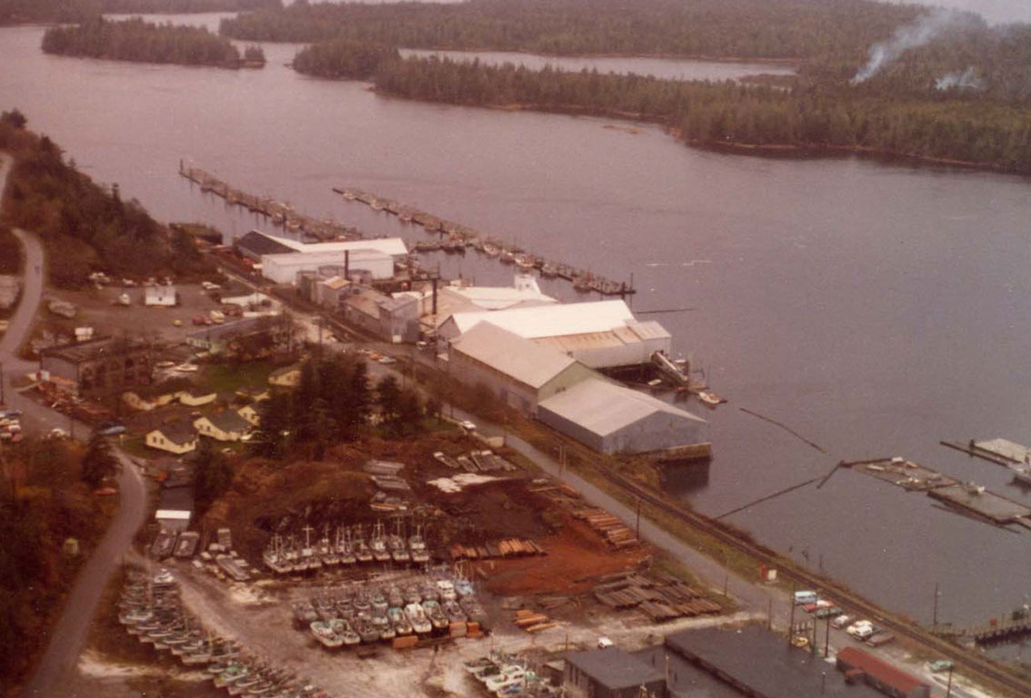 Aerial view of cannery buildings and dockyard.