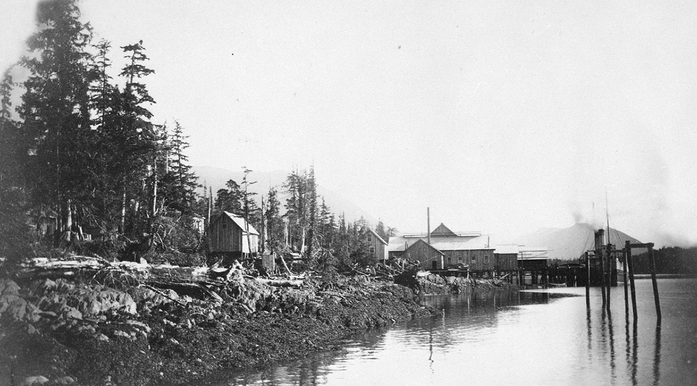 Standard Cannery buildings visible in the distance along a wooded river bank.