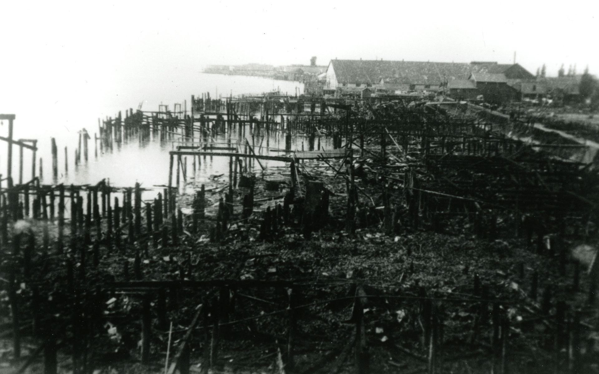 Expanse of burnt pilings stretch along the waterfront with cannery buildings in the background.