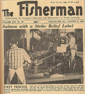 "Portion of a newspaper article with the title ""Salmon with a Strike Relief Label"" and a photo of male workers in a cannery"