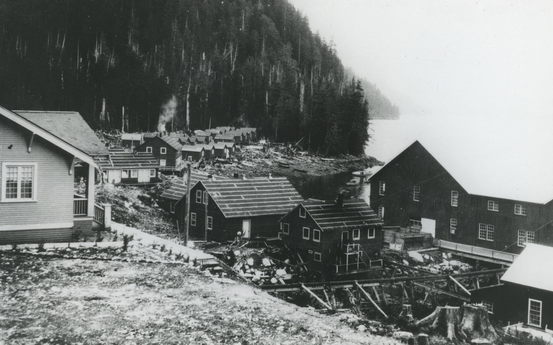 The Walker Lake Cannery viewed from the land behind the cannery with Johnstone Channel visible behind the buildings.
