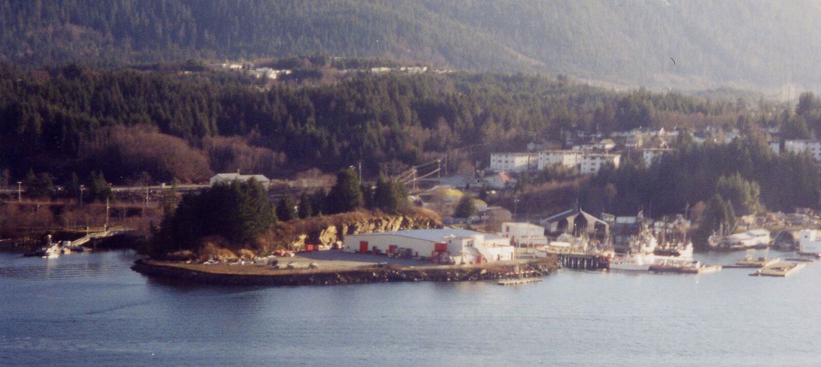 Aerial view of Seal Cove Cannery buildings with water in the foreground and wooded hills in the background