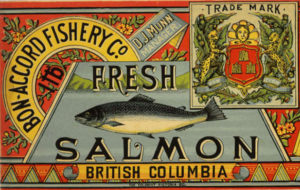 Label features bright colours and bold fonts, and an image of a salmon.