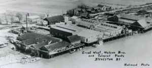 Aerial photograph of the Steveston waterfront with cannery buildings and boats