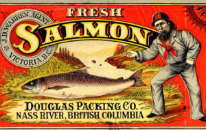 Label features a salmon and a sailor with a bright red background.