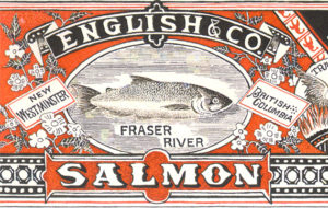 Red, black, and white label features a salmon image.