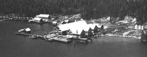 Aerial view of cannery buildings