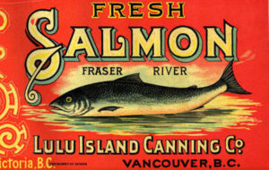 "Salmon can label ""Empress Brand, Fresh Fraser River Salmon, Lulu Island Canning Co., Vancouver BC"""