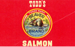 Red label features images of a chum salmon and a beaver.