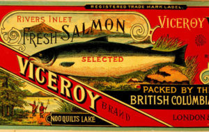 "Can label for ""Rivers Inlet selected fresh salmon, Viceroy Brand packed by the British Columbia Canning Co. Ltd. Nooquilts Lake."""