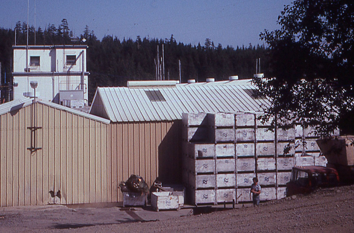 Buildings with metal siding and stacks of wooden fish crates