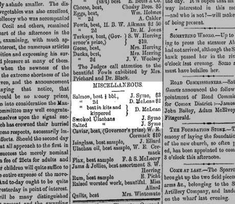 Black and white scan of newspaper page with three columns of text. Close up on 'Miscellaneous – Salmon, best 1/2 bbl., J. Syme $3'.