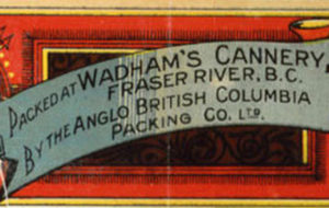 "Can label for Wadhams Cannery featuring large salmon image. It reads: ""Extra choice salmon cutlet. Packed at Wadhams' Cannery Fraser River, B.C. by the Anglo British Columbia Packing Co. Ltd."""