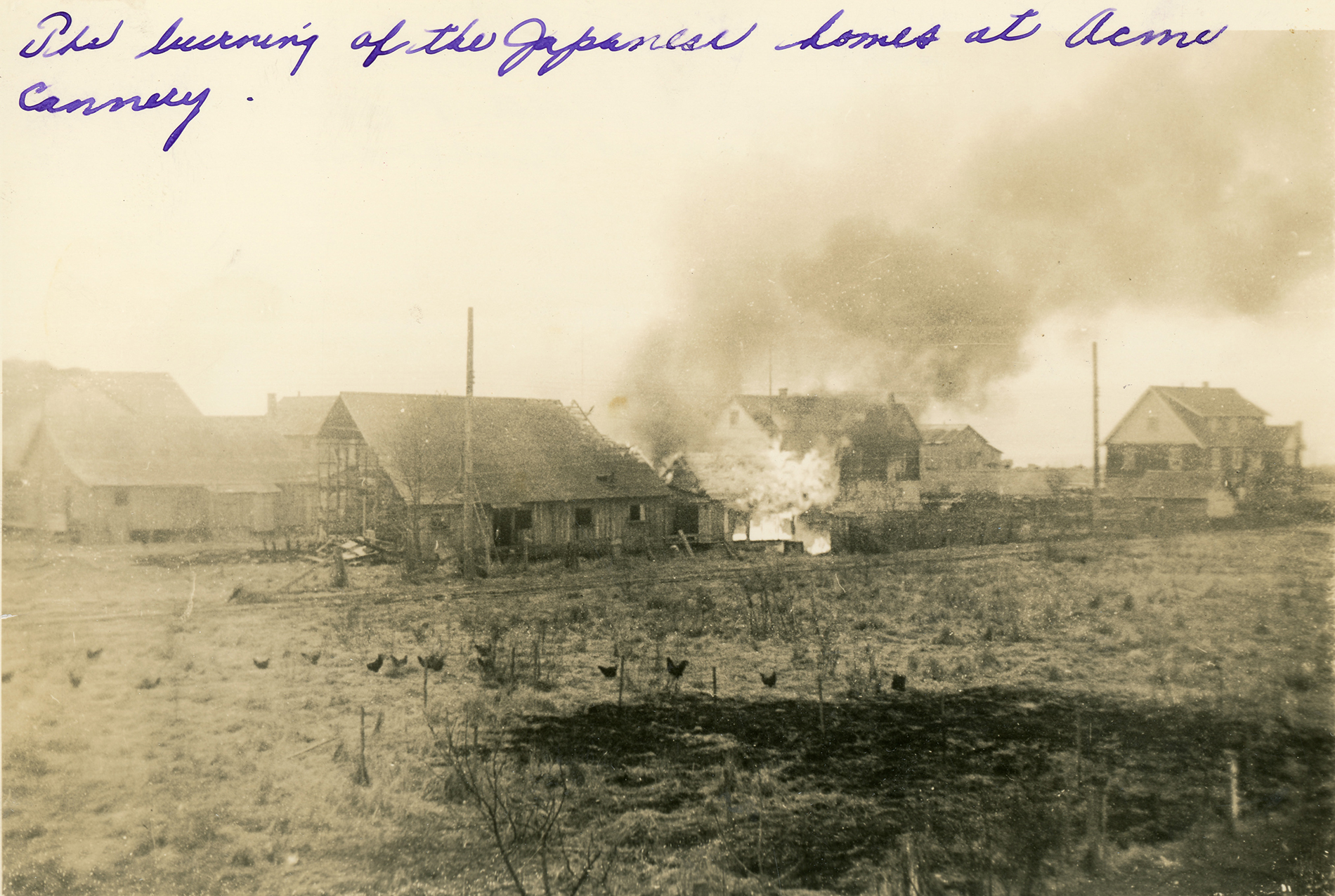 Four cannery bunk houses, two of which are on fire.