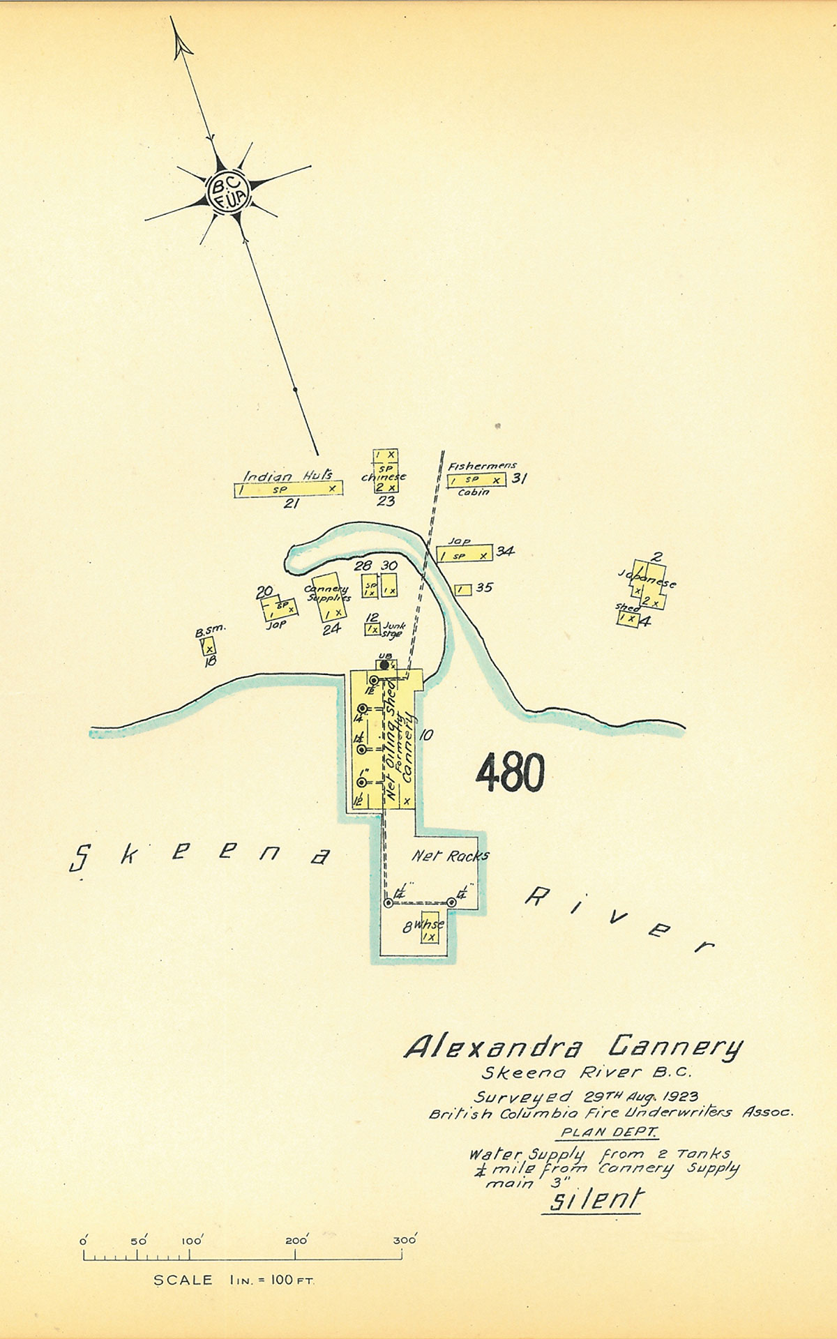 Scale drawing of Alexandra Cannery complex.