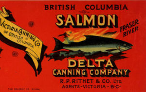 Can label features a maple leaf and salmon image.